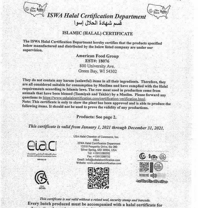 Halal Lunch Certification